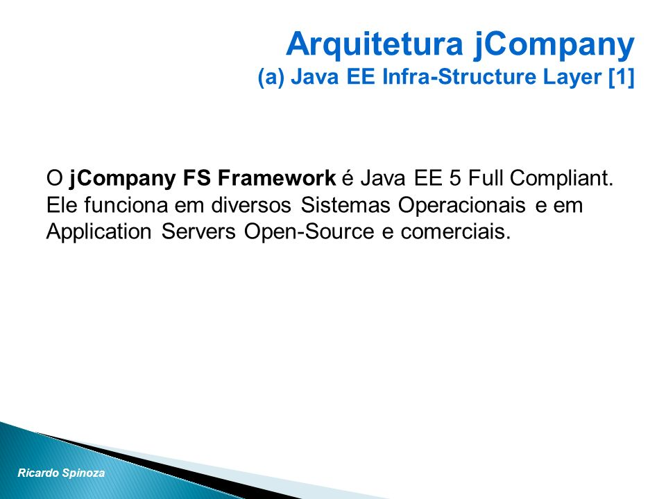 Arquitetura jCompany (a) Java EE Infra-Structure Layer [1]